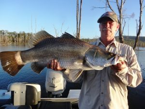 Kim Hochen's 80cm Barra MASA member caught this nice barra on a Gold & Green Riedys in shallow water.